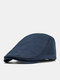 Men Cotton Solid Color Cloth Tape Decoration Sunshade Casual Berets Flat Caps - Navy