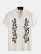 Designer Mens Plant Embroidered Stand Collar Casual Short Sleeve Shirts - White