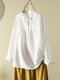 Solid Color Stand Collar Long Sleeve Pleated Button Overhead Blouse - White