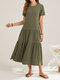Solid Color Short Sleeve O-neck Casual Dress for Women - Green