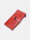 पुरुषों असली लेदर वैक्स रेट्रो ठोस रंग डबल जिपर क्लच पर्स बहु-स्लॉट कार्ड धारक बटुआ - लाल