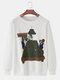 Mens Cartoon Graphic Print Cotton Crew Neck Loose Fit Casual Sweatshirt - White
