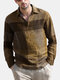 Plus Size Mens Plaid Casual Cotton Long Sleeve Golf Shirts - Yellow
