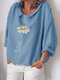 Flower Print 3/4 Sleeve Loose Plus Size Blouse - Light Blue
