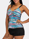 Plus Size Women Colorful Stripe Print Tie Front Wireless Strappy Tankinis Swimsuit - Blue