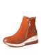 Women Solid Color Patchwork Casual Side Zipper Sport Short Boots - Brown