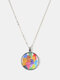 Geometric Round Glass Color Cat Print Women Pendant Necklace Jewelry Gift - Silver