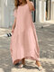Plus Size Solid O-neck Pocket Casual Tee Dress - Pink