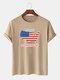 Men 100% Cotton American Flag Map Independence Day Printed Casual T-Shirt - Khaki