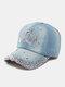 Women Denim Rhinestone Decorated Crown Pattern Broken Hole Casual Sunshade Baseball Caps - #02