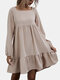 Solid Color Bowknot Ruffle Long Sleeves Casual Dresses for Women - Apricot