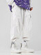 Mens Corduroy Solid Drawstring Cargo Pants With Multi Pockets - White