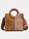 Vintage Quilted Clolor Block Sewing Thread Stitching Color Crocodile Embossed Comfy Handle Crossbody Bag - Brown
