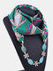 Vintage Chiffon Women Scarf Necklace Shell Flower Pendant Stripes Printed Shawl Necklace Clothing Accessories - #11