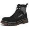 Men Pigskin Leather Round Toe Slip Resistant Tooling Boots - Black