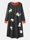 Women Cartoon Cats Print O-Neck Long Sleeve Cotton Thick Plus Size Nightgown With Pocket - Dark Gray