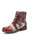 SOCOFY Retro Fashion Poster Cats Pattern Stitching Comfy Cowhide Leather Warm Casual Lace Up Zipper Tooling Boots - Brown