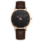 Sports Business Women Watch Large Three-Hand Smooth Dial Leather Band Calendar Quartz Watch - 05