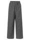 Pliad Print Elastic Waist Loose Plus Size Pants - Black