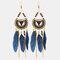 Bohemian Metal Tassel Stripe Beads Earrings Vintage Long Feather Dangle Earrings Women Gift - Blue
