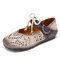 SOCOFY Retro Leather Burnished Cutouts Knot Elastic Strap Splicing Floral Flat Shoes - Beige