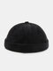 Unisex Cotton Solid Color Letter Cloth Label All-match Warmth Brimless Beanie Landlord Cap Skull Cap - Black