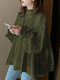 Solid Color Knotted Pleated Long Sleeve Ruffle Blouse for Women - Army green