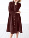 Solid Color Corduroy Button Pocket Long Sleeve Casual Dress for Women - Wine Red