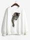 Cat Print Long Sleeves O-neck Casual Sweatshirt For Women - #5
