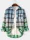 Mens Plaid Ombre Print Cotton Lapel Long Sleeve Casual Shirts - Light Blue