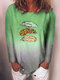 Feather Print Gradient Color Long Sleeve Casual T-shirt for Women - Green