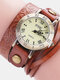 Vintage Cowhide Nicked Women Watch Roman Numeral Leather Circle Wrist Watch - Coffee