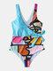 Women Colorful Figure Graffiti Print High Neck Sleeveless One Piece Swimwear - Blue