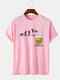 100% Cotton Mens Funny Beer Friday Figure Pattern Short Sleeve T-Shirt - Pink