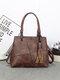 Simple Studded Design Tassel Decor Handbag Double Zipper Pocket Texture Hardware Crossbody Bag - Coffee