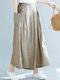 Casual Solid Color Plus Size Wide Leg Pants with Pockets - Beige