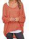 Casual Asymmetrical Solid Color Plus Size Blouse for Women - Orange