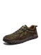 Men Comfy Hand Stitching Microfiber Leather Non Slip Soft Lace Up Casual Shoes - Green
