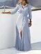 Striped Print Waistband Button Long Sleeve Casual Dress for Women - Light blue