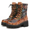 SOCOFY Retro Flowers Cloth Splicing Round Toe Floral Embossed Leather Comfy Short Boots - Brown