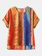 Camiseta de manga corta con estampado de rayas Plus Talla vendimia - naranja