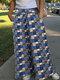 ベルト付きカジュアルプリントポケットPlusサイズワイドレッグパンツ - 青い