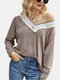 Lace Patchwork Long Sleeve V-neck Casual T-Shirt For Women - Gray