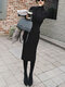 Women Casual High Neck Solid Color Sweater Dress - Black