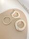 3 Pcs Brief Ins Irregular Millet Bead Acrylic Freshwater Pearl Rings - Beige