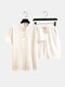 Mens Fashion Designer Two Piece Chinese Style Loose Short Suits - White