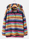 Color Striped Print Long Sleeves Button Hoodies For Women - Blue