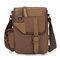 Augur sac bandoulière vintage de loisirs en cuir véritable et toile sac de messager pour homme