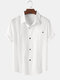 Mens Solid Color Breathable Turn Down Collar Short Sleeve Shirts - White