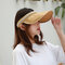 Women Collapsible Summer Shading Empty Top Hat - Yellow